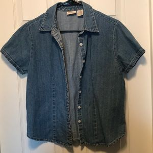 Denim Fitted Short Sleeve Button Down